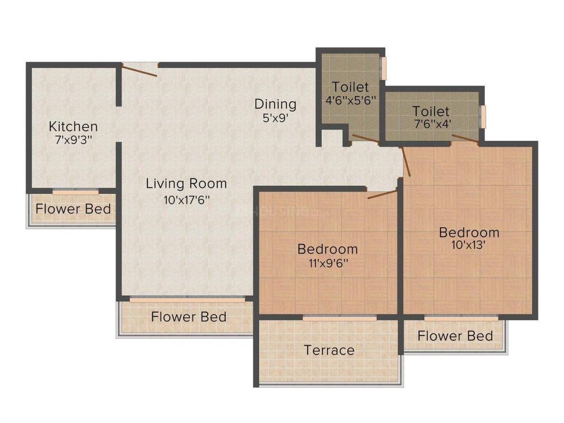 Floor Plan Image of 749.0 - 865.0 Sq.ft 2 BHK Apartment for buy in Dolphin Elite Residency