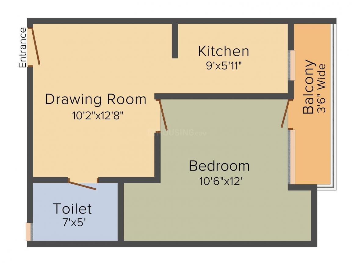 Alankar Vally Floor Plan: 1 BHK Unit with Built up area of 575 sq.ft 2