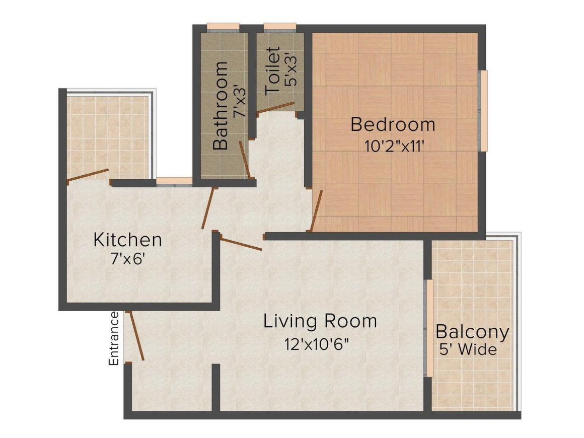 Executive Suites Floor Plan: 1 BHK Unit with Built up area of 525 sq.ft 1
