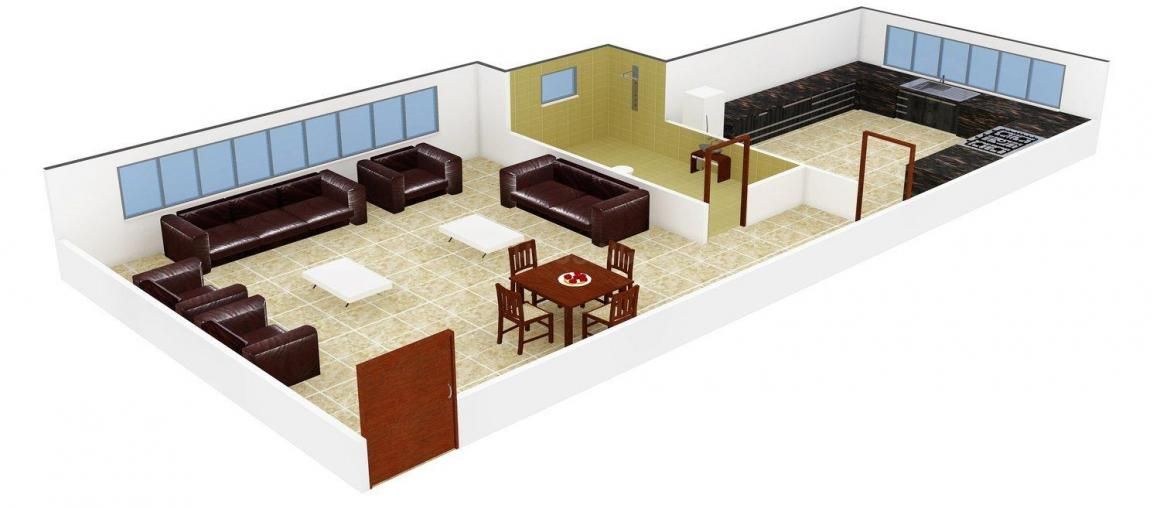Floor Plan Image of 415 - 846 Sq.ft 1 RK Apartment for buy in Dhariwal Om Sai CHS