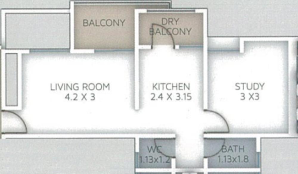 Stargaze Royal Glen Floor Plan: 1 BHK Unit with Built up area of 392 sq.ft 1