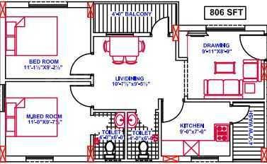 Buddha Vertex Classic Floor Plan: 2 BHK Unit with Built up area of 806 sq.ft 1