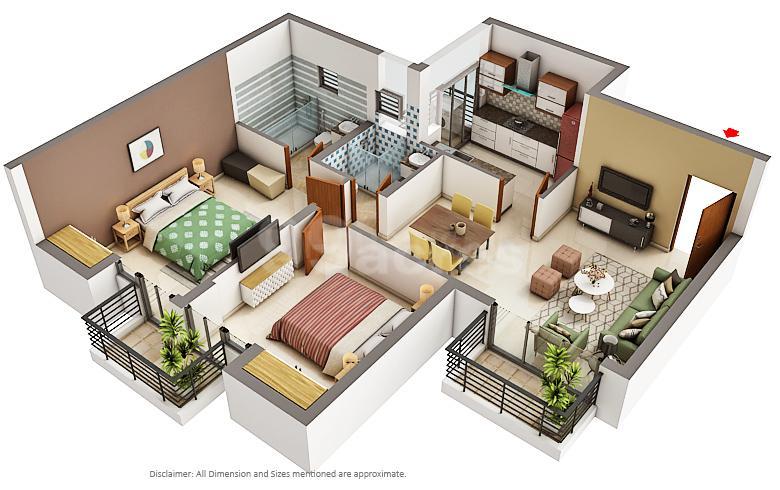 Unitech Uniworld City Floor Plan: 2 BHK Unit with Built up area of 11302 sq.ft 1