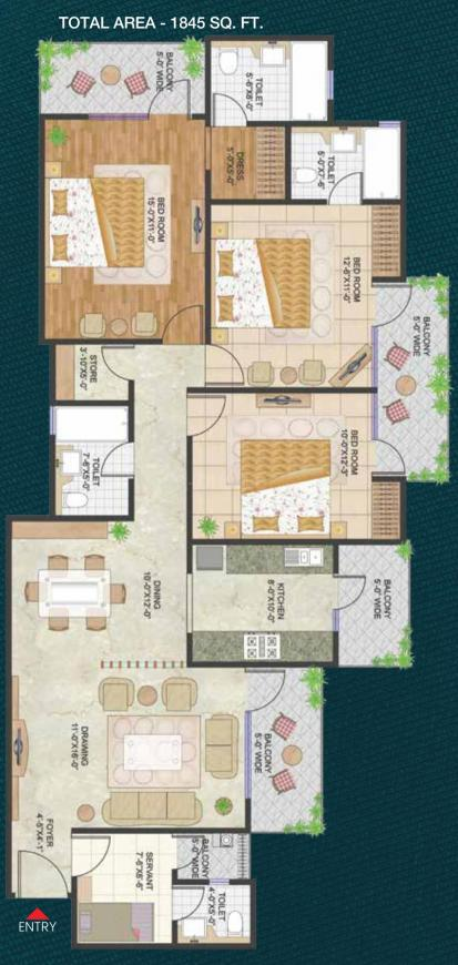 Prateek Stylome Floor Plan: 3 BHK Unit with Built up area of 1845 sq.ft 1