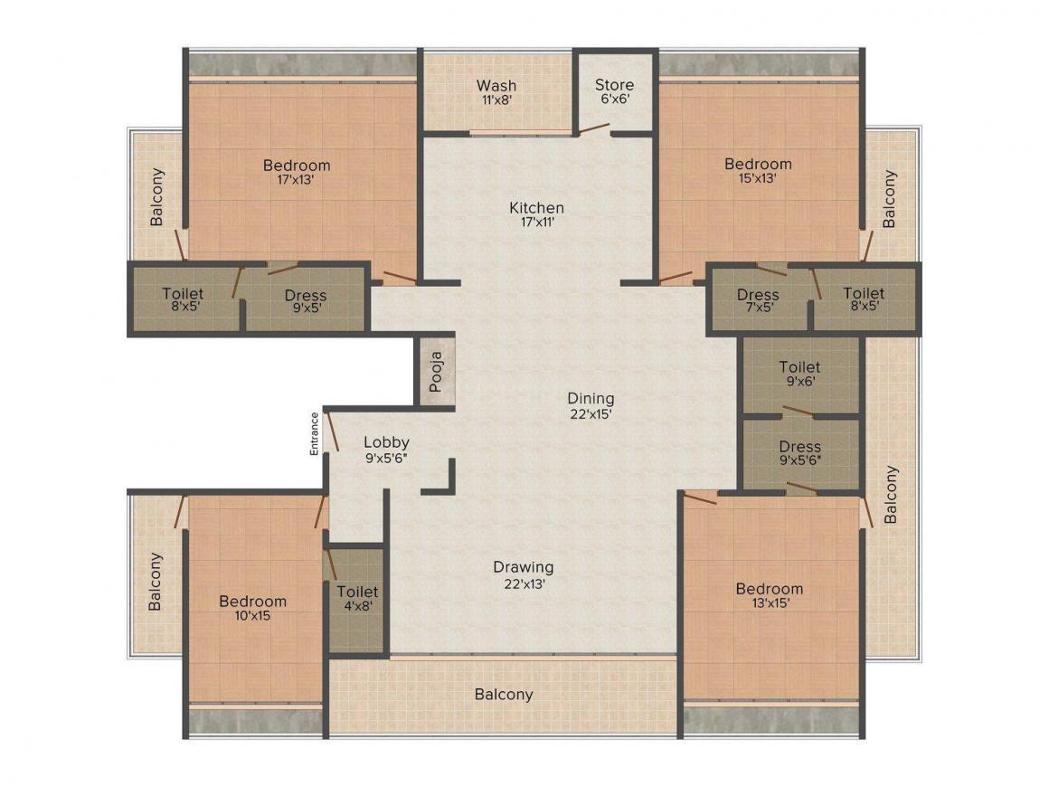 Morya Navjeevan Floor Plan: 4 BHK Unit with Built up area of 3920 sq.ft 1