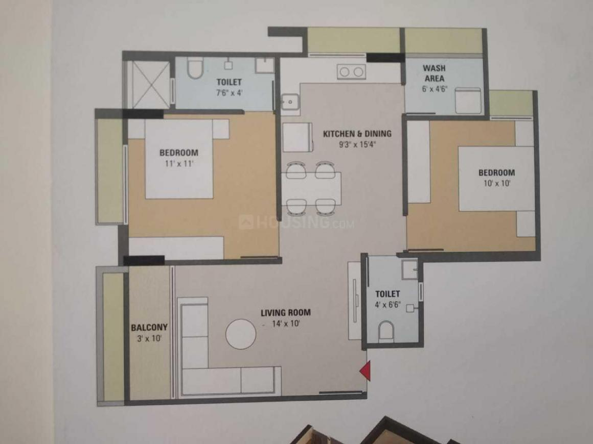 Shyam One40 Floor Plan: 2 BHK Unit with Built up area of 710 sq.ft 1