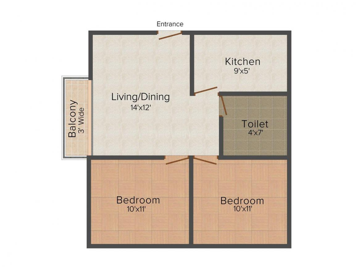 Floor Plan Image of 460 - 860 Sq.ft 2 BHK Apartment for buy in SB Chayanir