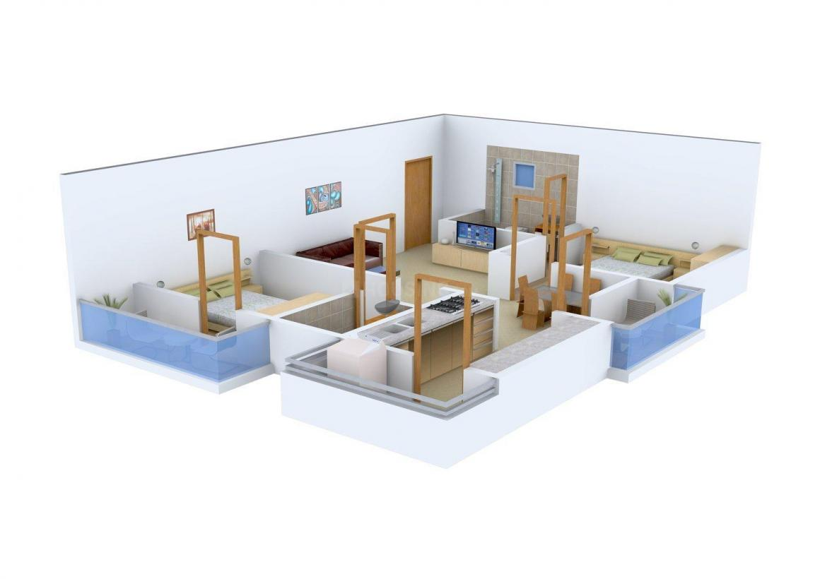 Floor Plan Image of 1100.0 - 1450.0 Sq.ft 2 BHK Apartment for buy in SNR Wind Mill