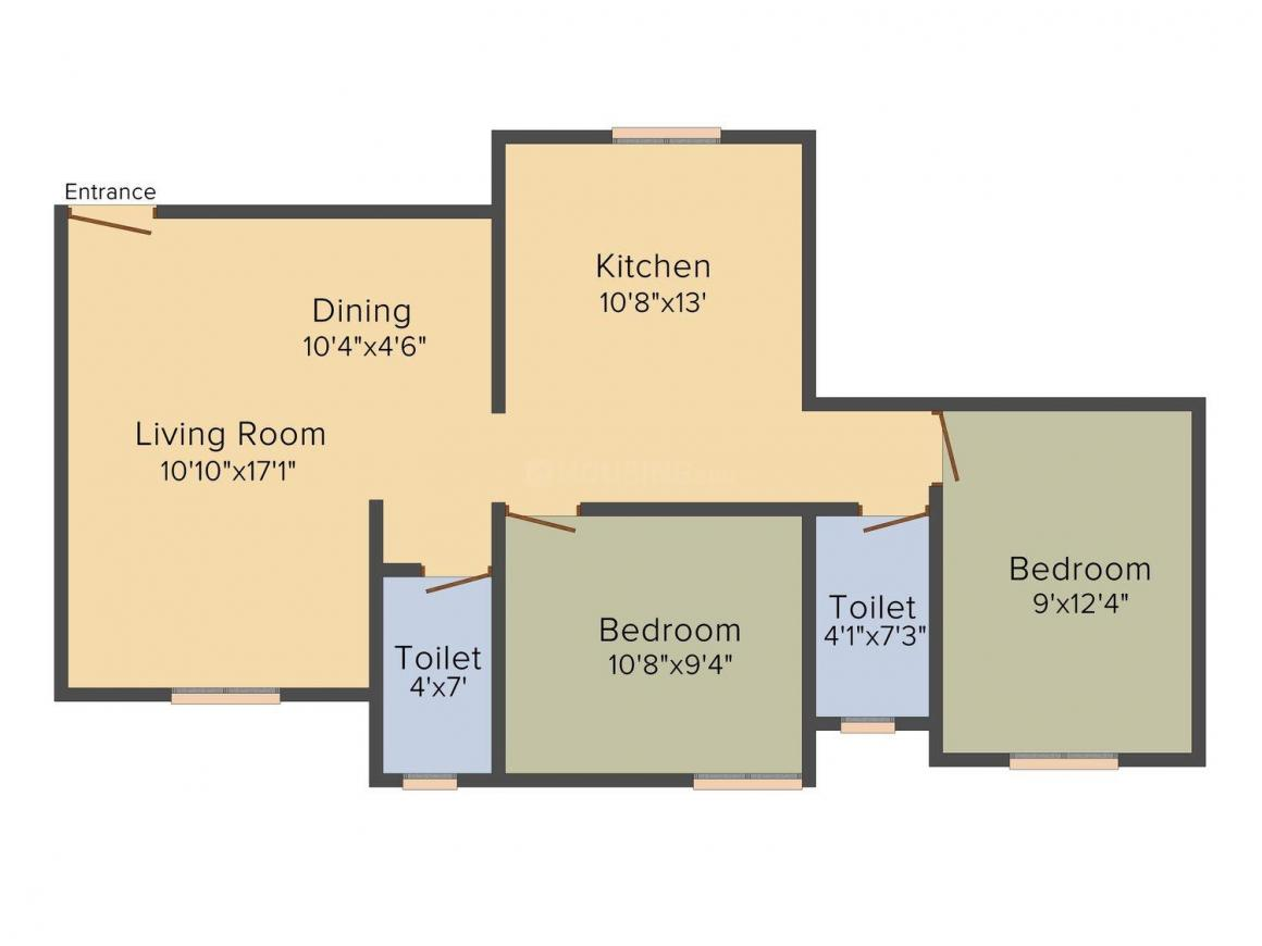 Floor Plan Image of 938.0 - 1045.0 Sq.ft 2 BHK Apartment for buy in Greenfield Glacia