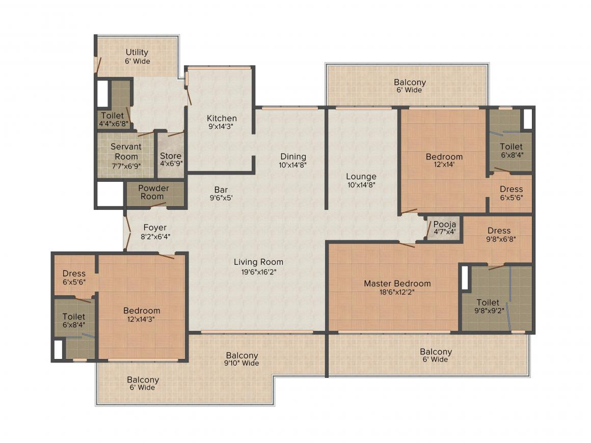 M3M Polo Suites Floor Plan: 3 BHK Unit with Built up area of 3980 sq.ft 1