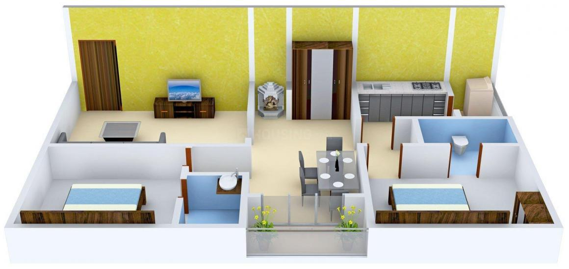 Sai Shraddha Sai Hill Top Floor Plan: 2 BHK Unit with Built up area of 1100 sq.ft 1