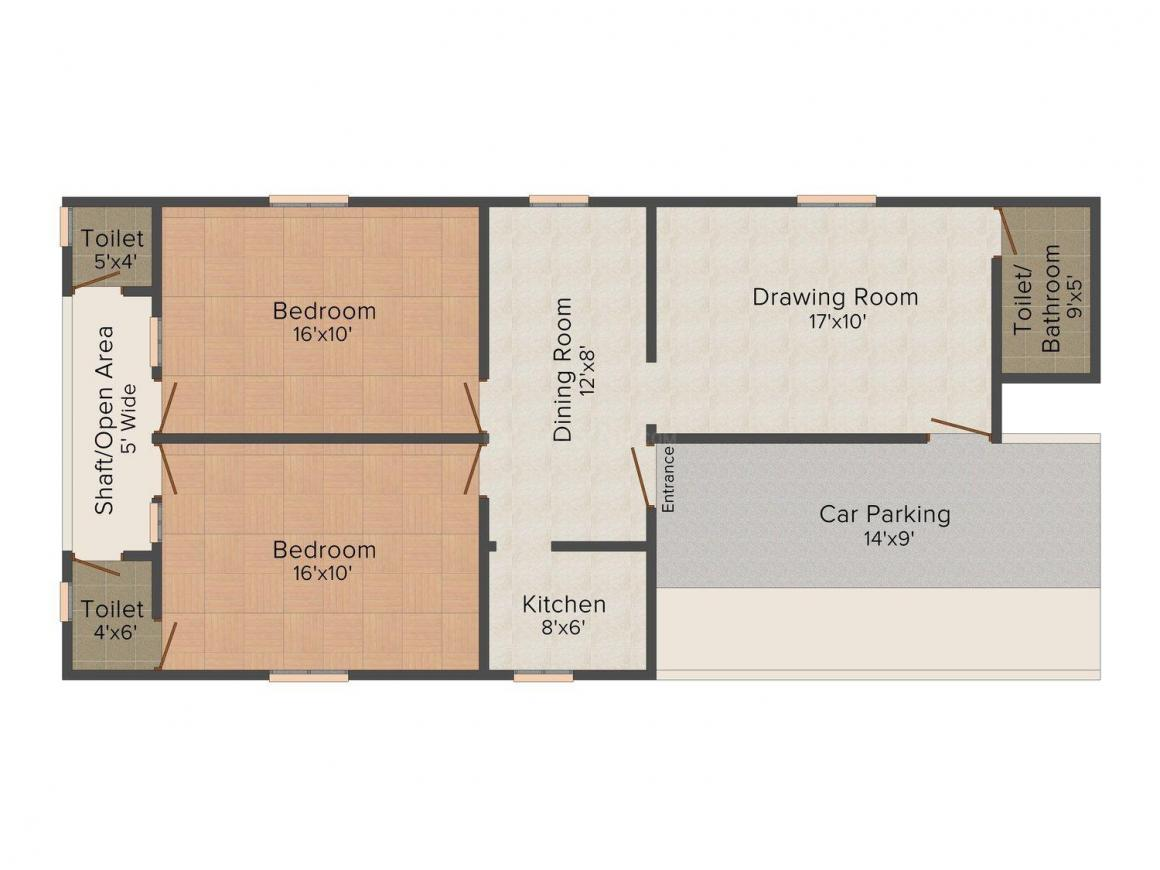 KS Phase 3 Floor Plan: 2 BHK Unit with Built up area of 630 sq.ft 1