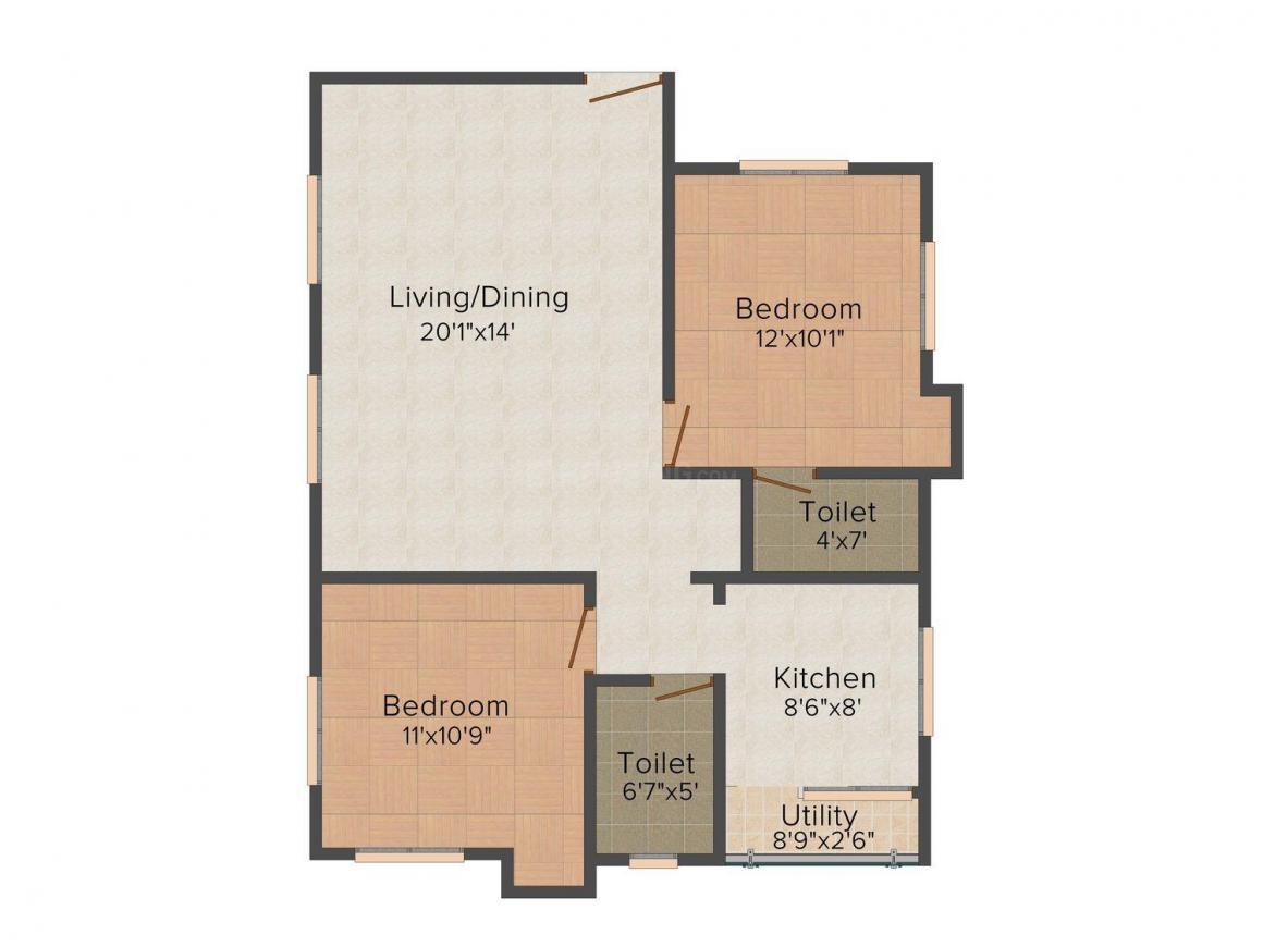 Floor Plan Image of 988.0 - 1176.0 Sq.ft 2 BHK Apartment for buy in Sai Meenakshi