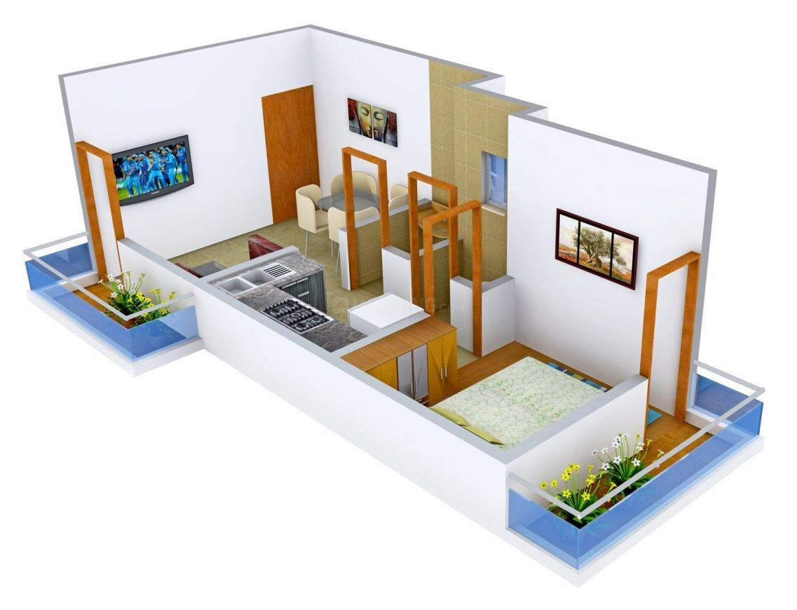 Floor Plan Image of 520.0 - 590.0 Sq.ft 1 BHK Apartment for buy in Mahalaxmi Vakratund Residency