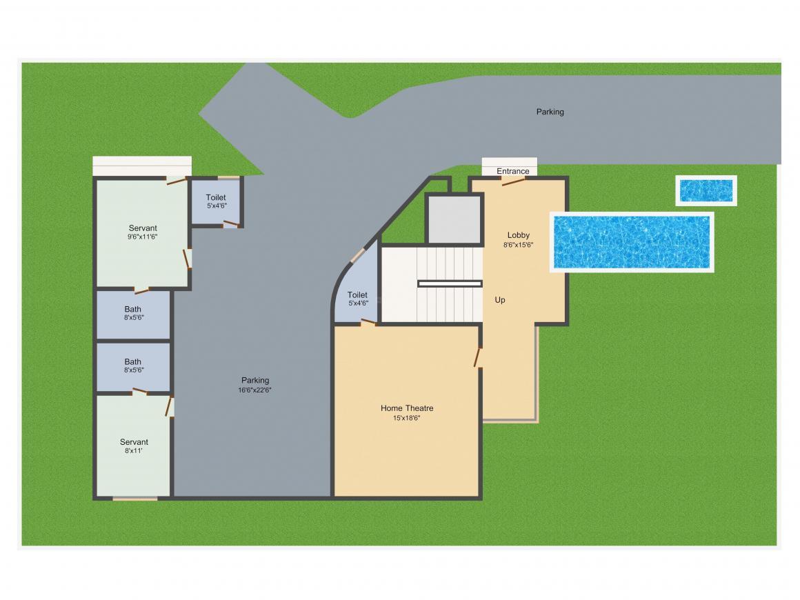 Jayabheri Temple Tree Floor Plan: 4 BHK Unit with Built up area of 5090 sq.ft 3