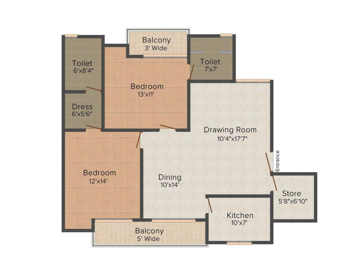 Preet Rohit Residency Floor Plan: 2 BHK Unit with Built up area of 1341 sq.ft 1