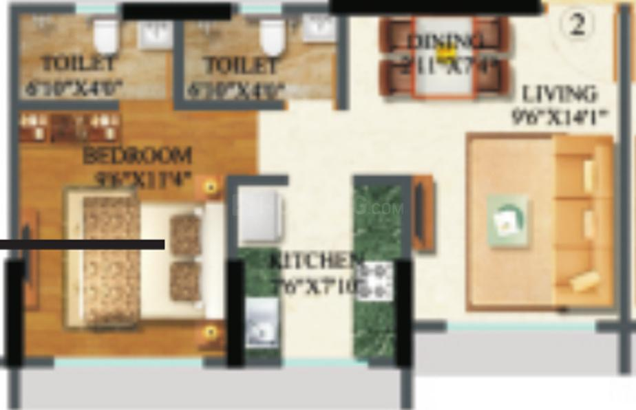 Sethia Kalpavruksh Heights Floor Plan: 1 BHK Unit with Built up area of 370 sq.ft 1
