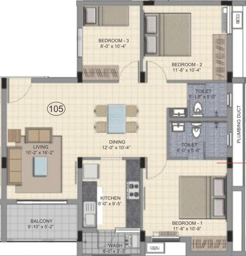 Kochar Neetu Arjun Garden Floor Plan: 2 BHK Unit with Built up area of 1163 sq.ft 1