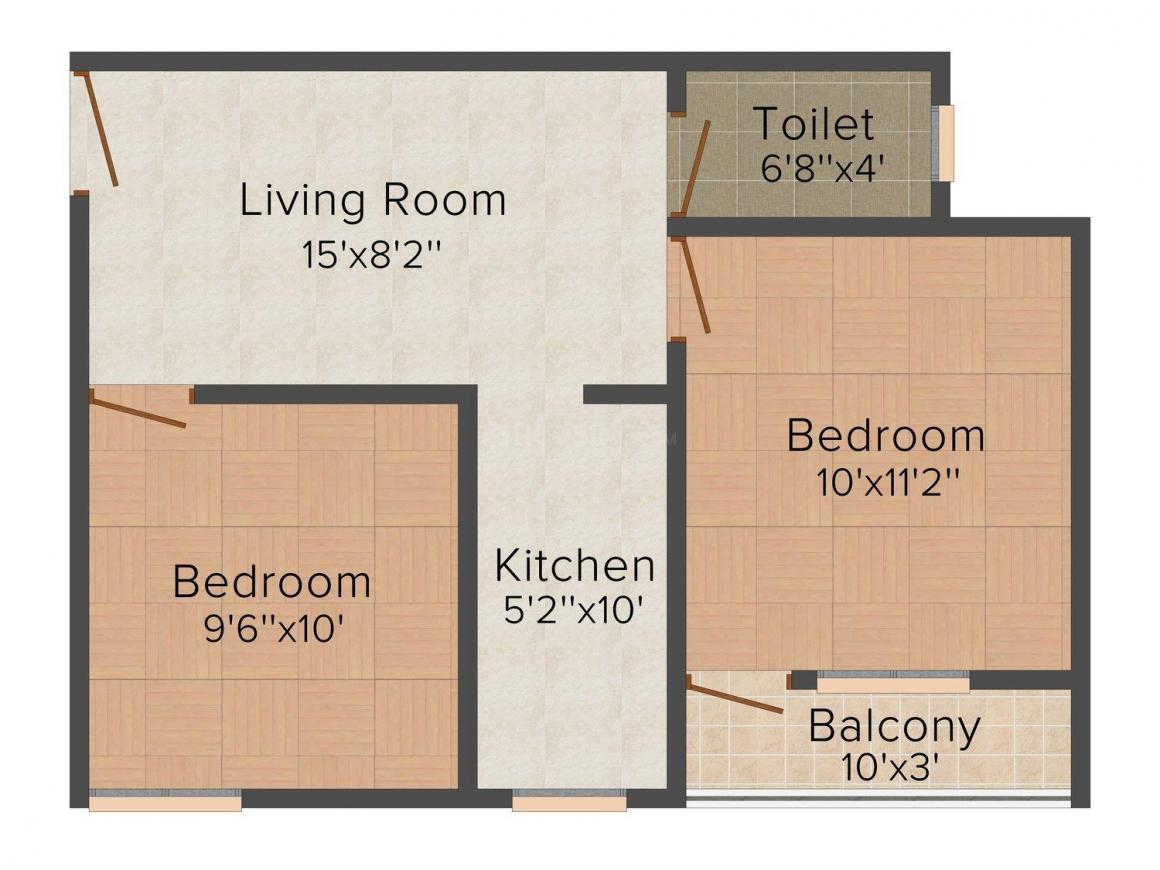 Orbit Residency Floor Plan: 2 BHK Unit with Built up area of 558 sq.ft 1