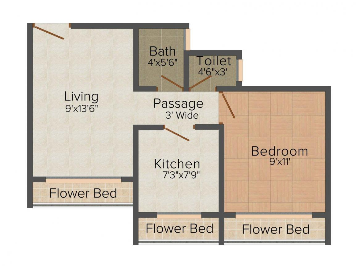 Suman Dhabas Bhurasar Tower Floor Plan: 1 BHK Unit with Built up area of 580 sq.ft 1