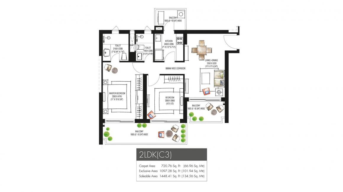 Krisumi Waterfall Residences Floor Plan: 2 BHK Unit with Built up area of 720 sq.ft 1