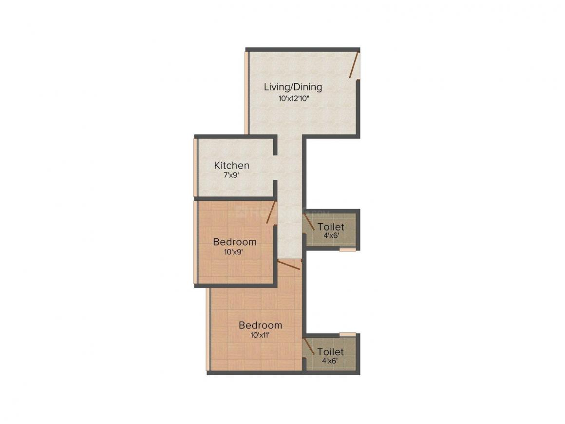 Floor Plan Image of 504.0 - 627.0 Sq.ft 2 BHK Apartment for buy in Swastik Sapphire