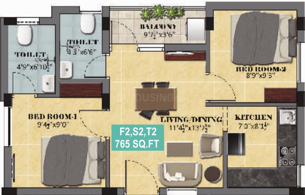 Ranga Rangas Dev Floor Plan: 2 BHK Unit with Built up area of 765 sq.ft 1
