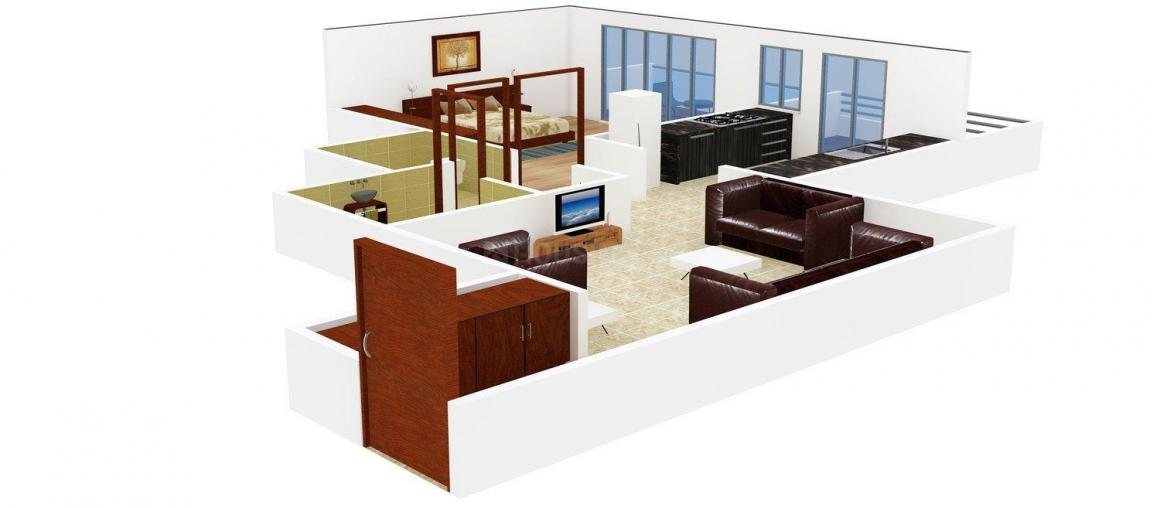 Floor Plan Image of 600.0 - 1040.0 Sq.ft 1 BHK Apartment for buy in SBM West Wind Park