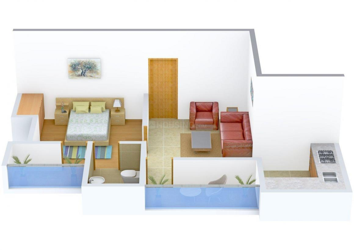 Floor Plan Image of 606 - 1133 Sq.ft 1 BHK Apartment for buy in Roopali Palm View Apartment
