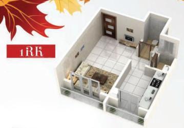 Jai Malhar Shree Anandi Paradise Floor Plan: 1 BHK Unit with Built up area of 335 sq.ft 1