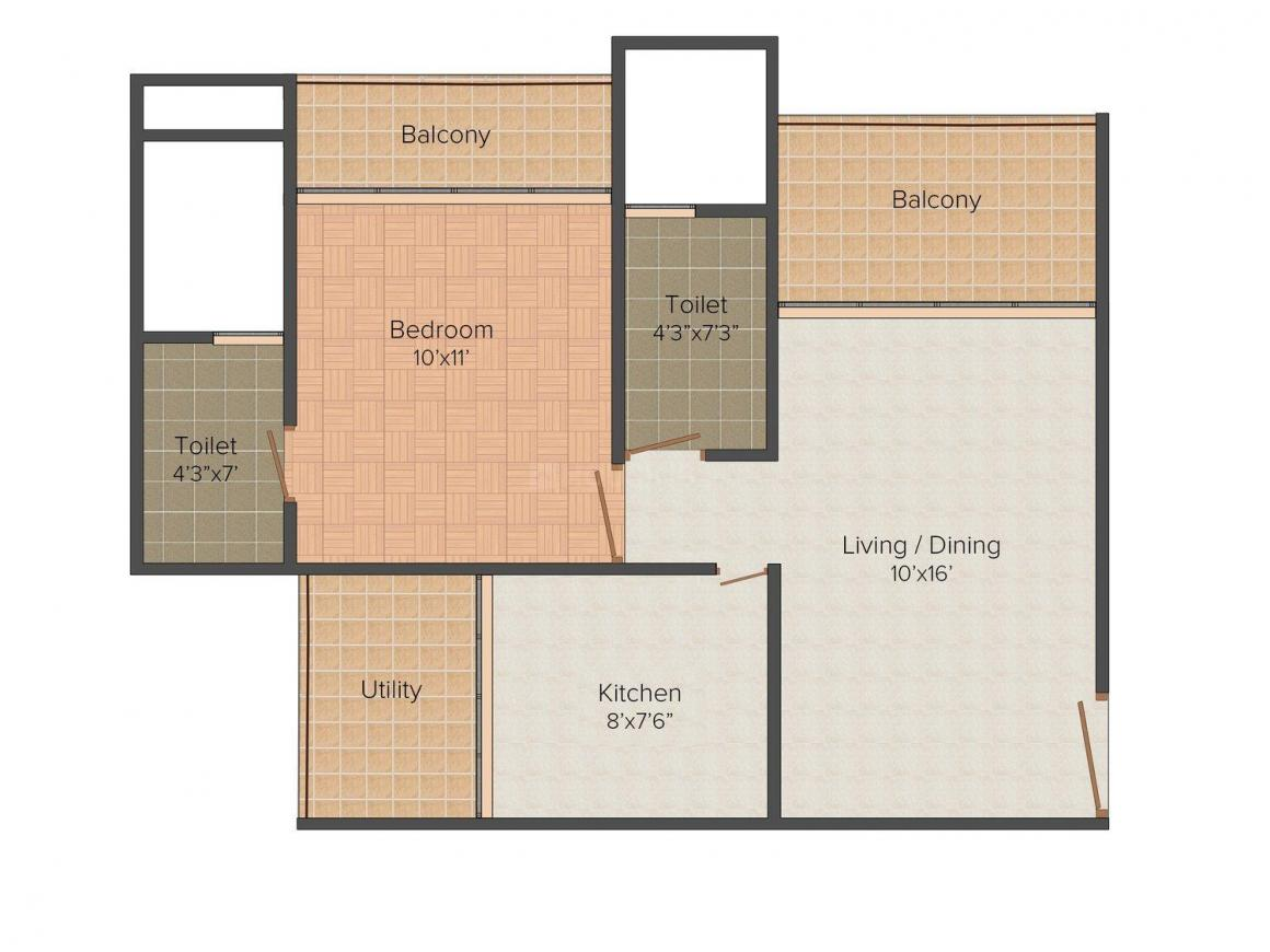 Floor Plan Image of 400.0 - 647.0 Sq.ft 1 BHK Apartment for buy in HBA Lareina Residency