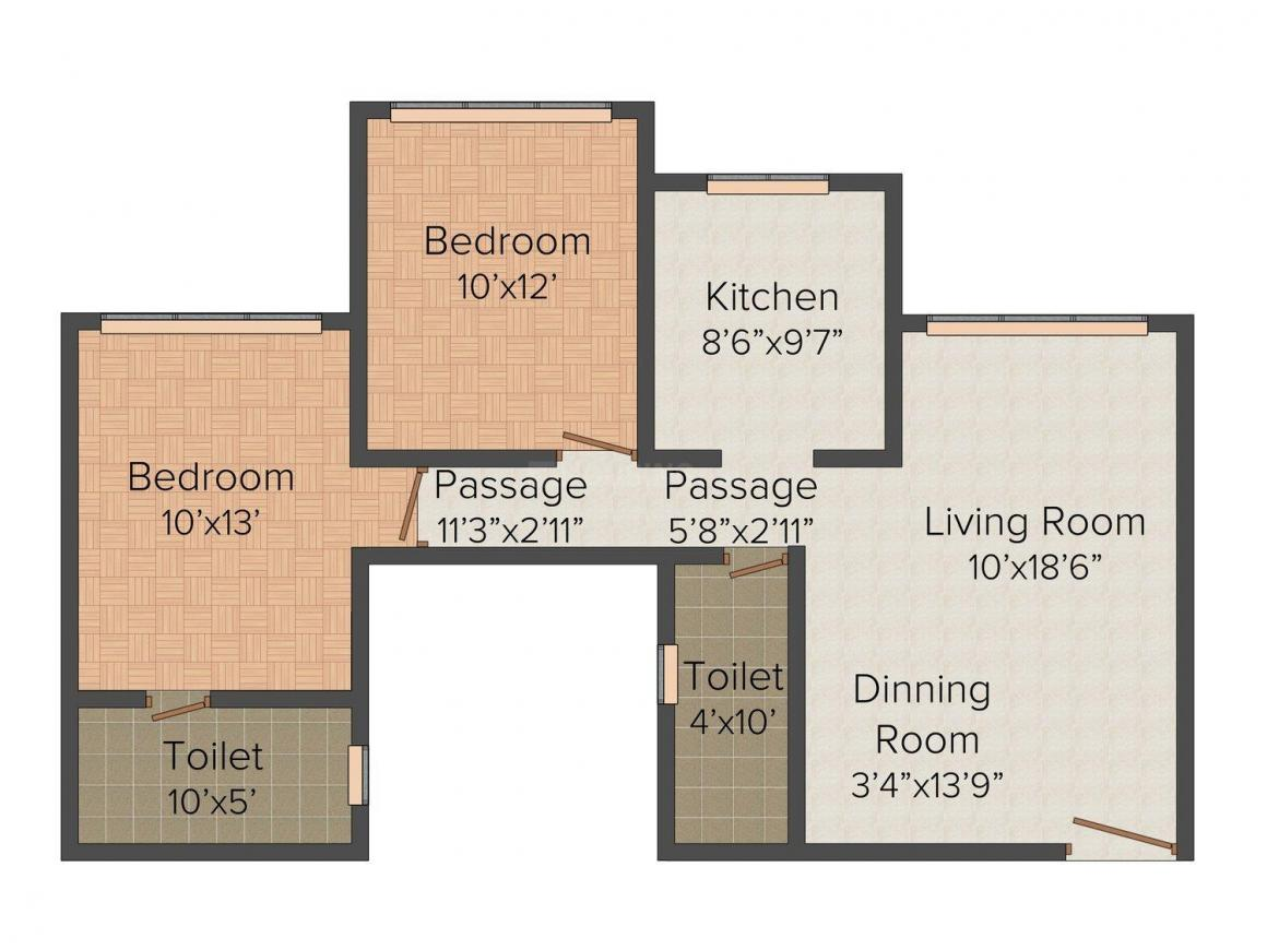 Floor Plan Image of 1215 - 1560 Sq.ft 2 BHK Apartment for buy in Romell Grandeur