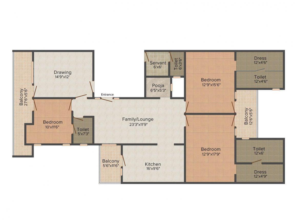 Floor Plan Image of 0 - 2100.0 Sq.ft 3 BHK Independent Floor for buy in Raheja Floor - 2
