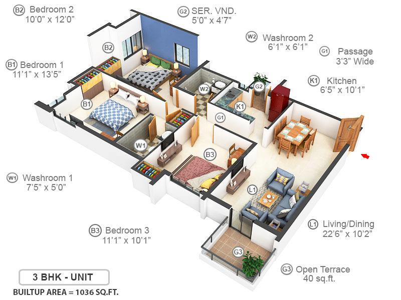 Sugam Morya Floor Plan: 3 BHK Unit with Built up area of 1036 sq.ft 1