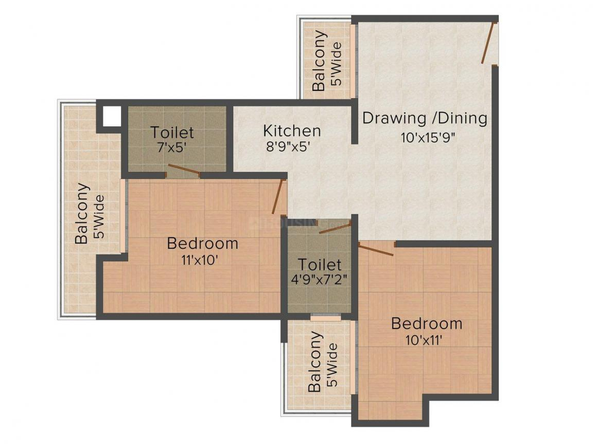 Supertech Ecociti Floor Plan: 2 BHK Unit with Built up area of 890 sq.ft 1
