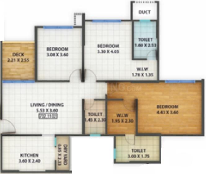 Kolte Patil Centria R Building Casa Floor Plan: 3 BHK Unit with Built up area of 1064 sq.ft 1