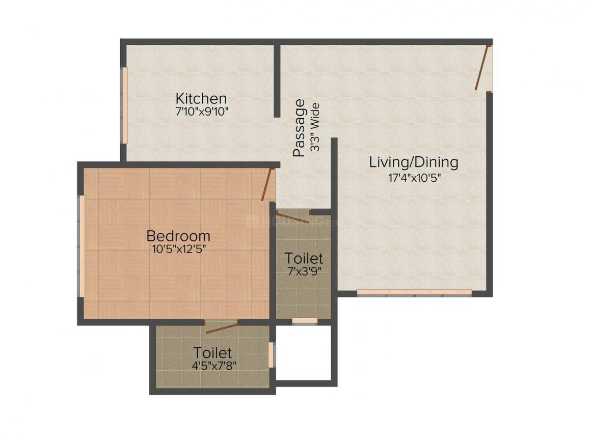 Floor Plan Image of 522.0 - 651.0 Sq.ft 1 BHK Apartment for buy in Prime Villas Pride Heights