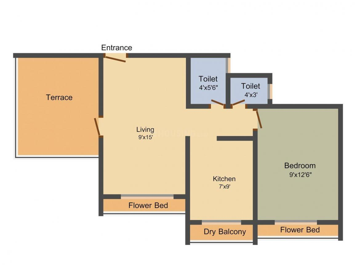 Tanishqua Gardens Floor Plan: 1 BHK Unit with Built up area of 625 sq.ft 1