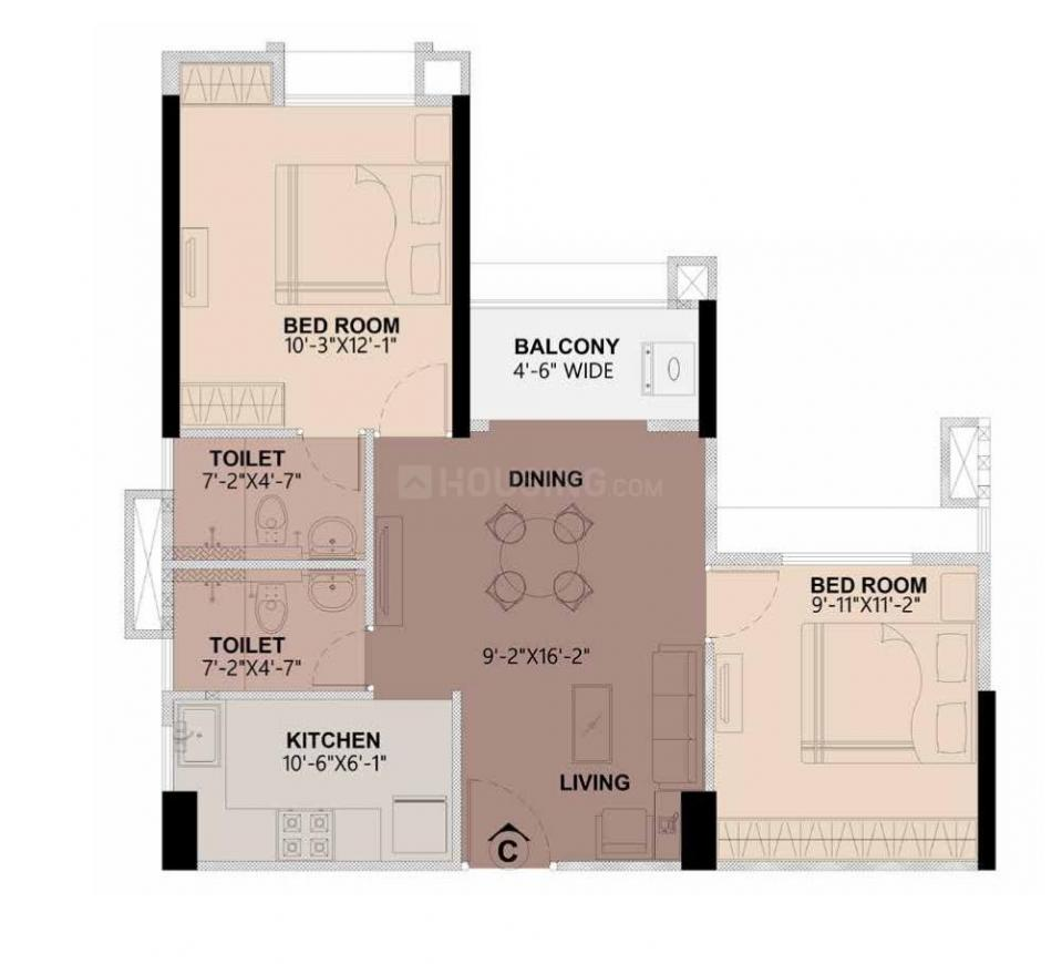 Joy 98 Floor Plan: 2 BHK Unit with Built up area of 894 sq.ft 1