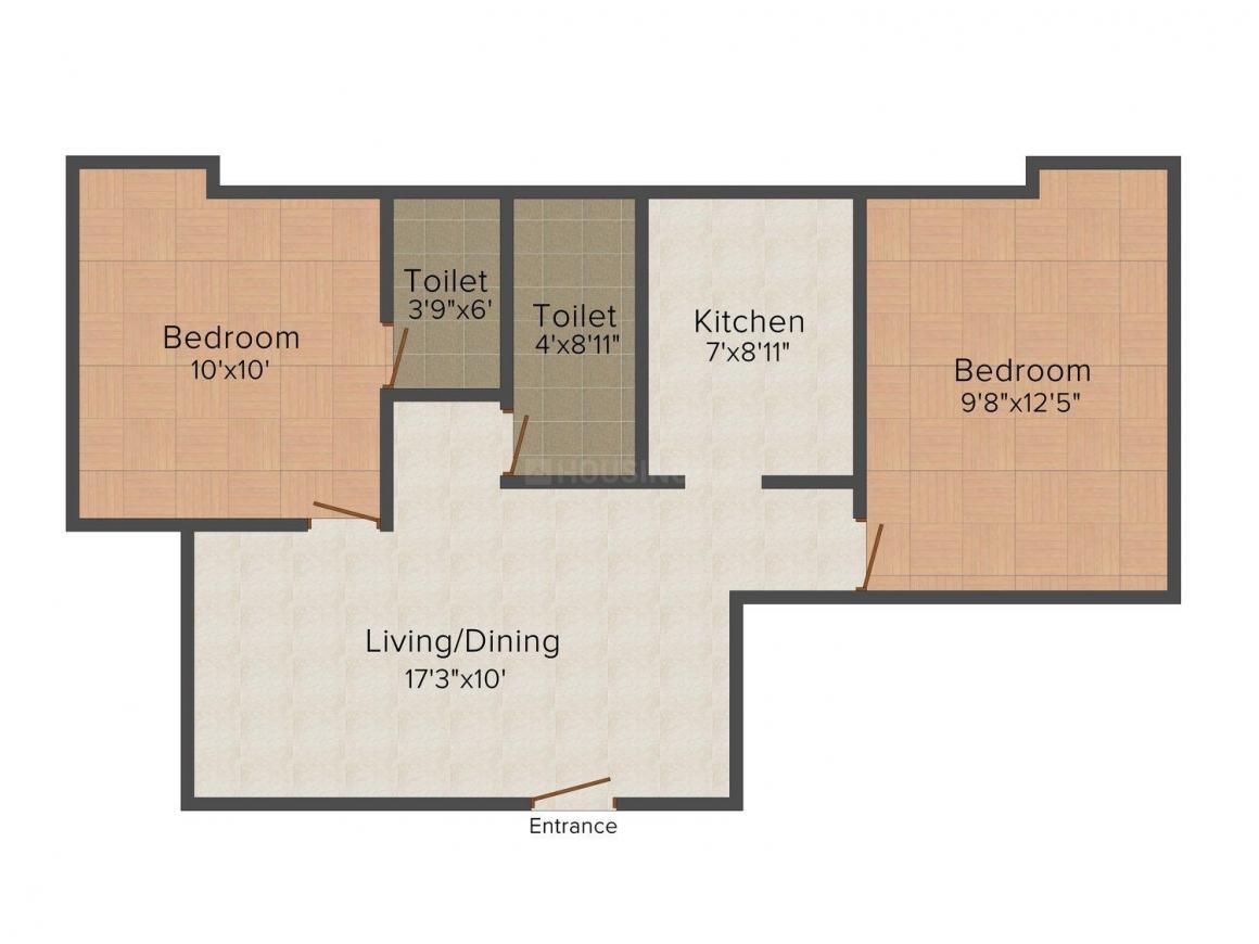 Thanjai Ranga Nagar Floor Plan: 2 BHK Unit with Built up area of 708 sq.ft 1