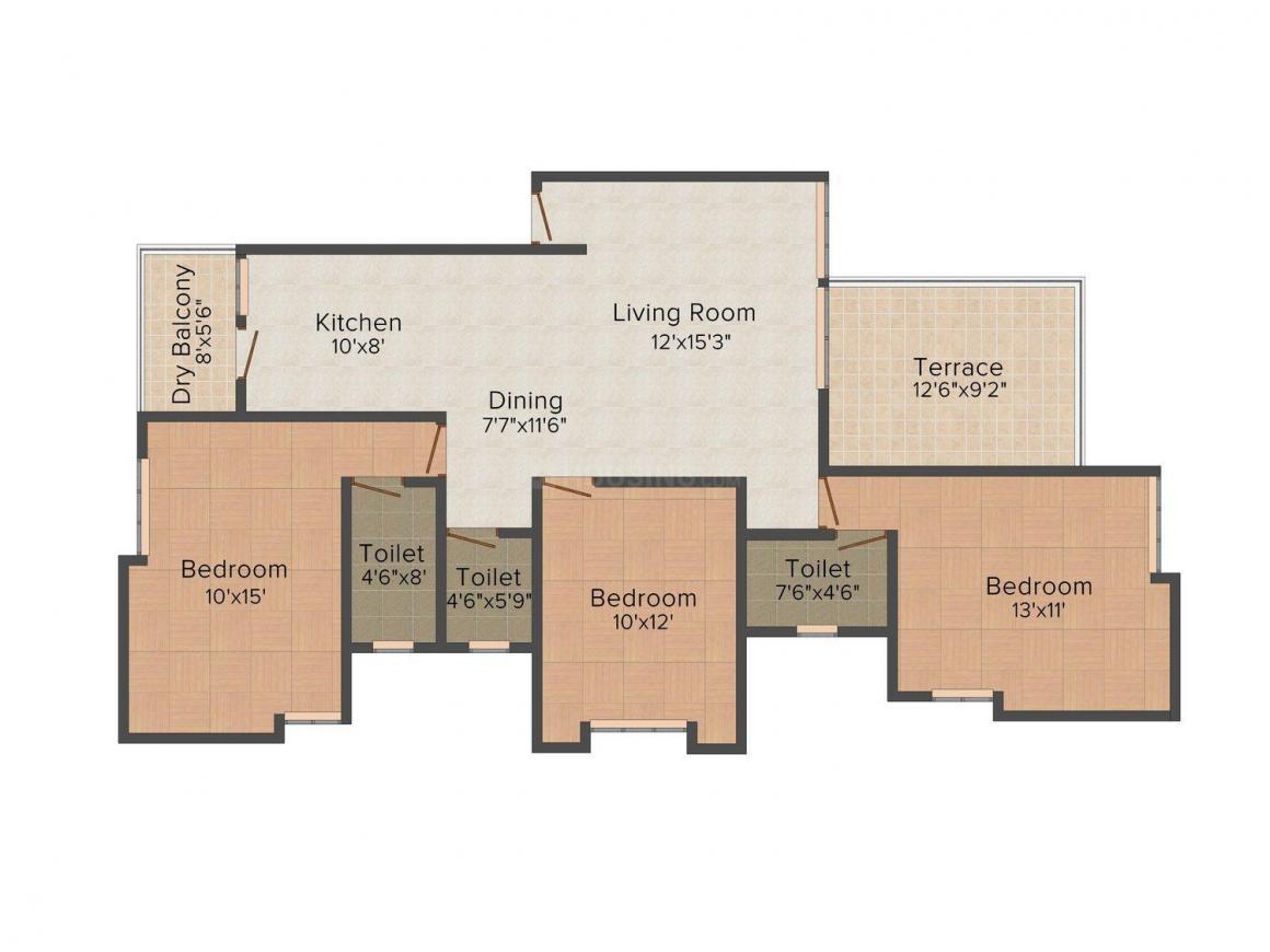 Antarkar & Joshi Dattashobha  Floor Plan: 3 BHK Unit with Built up area of 1115 sq.ft 1