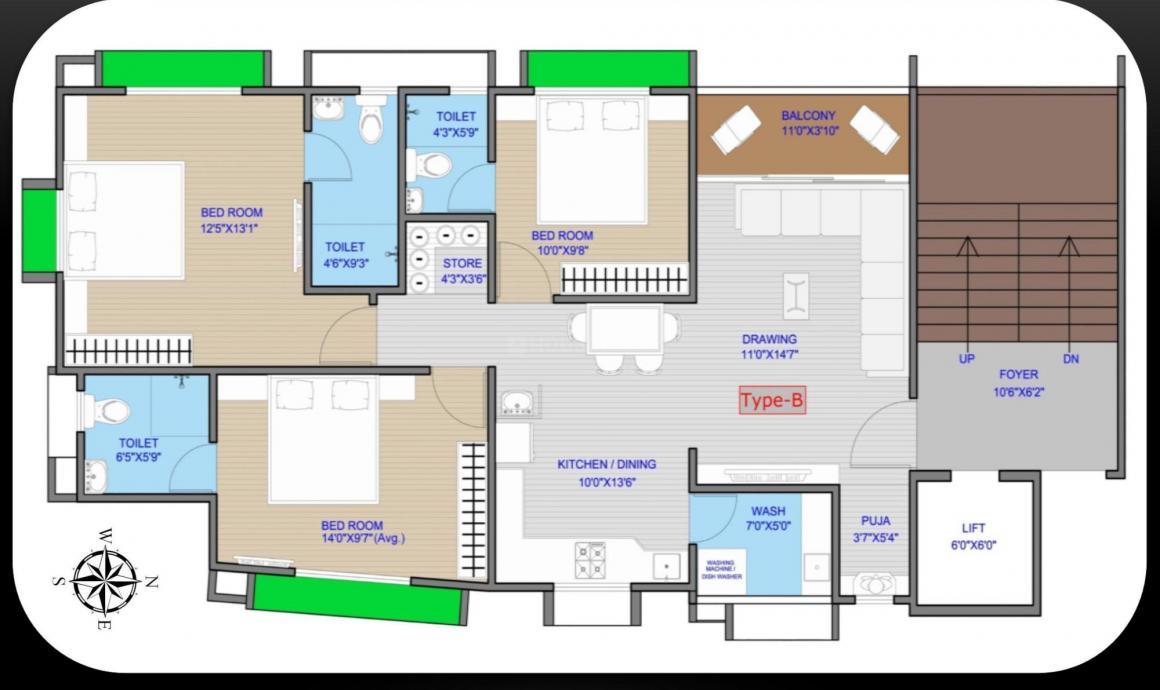 Birva Devas 2 Floor Plan: 3 BHK Unit with Built up area of 85 sq.ft 1