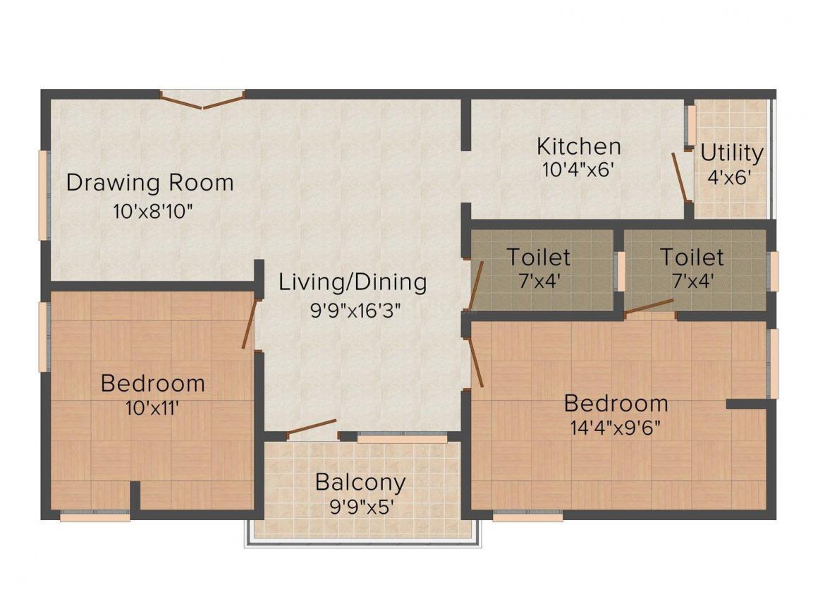 HariKrishna Harikrishna Aditya Palace Floor Plan: 2 BHK Unit with Built up area of 965 sq.ft 1