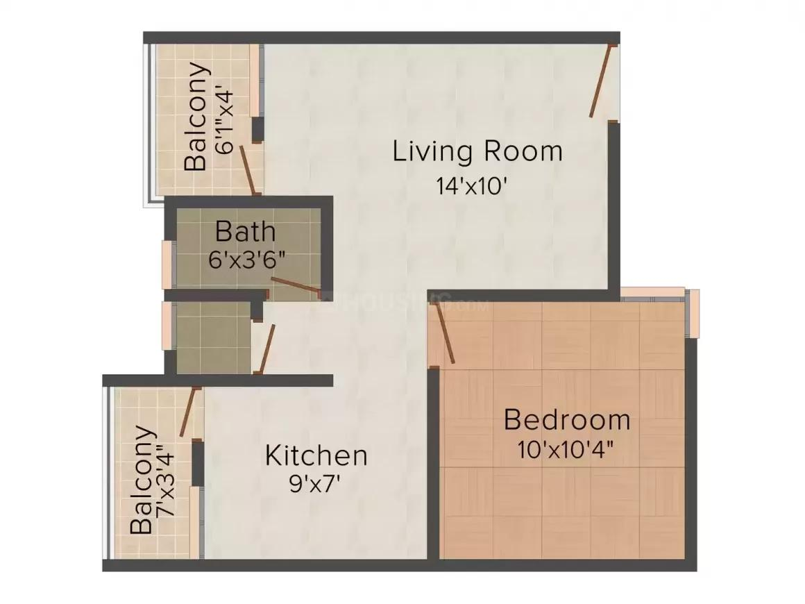 Shiv Ratnam Square Floor Plan: 1 BHK Unit with Built up area of 600 sq.ft 1