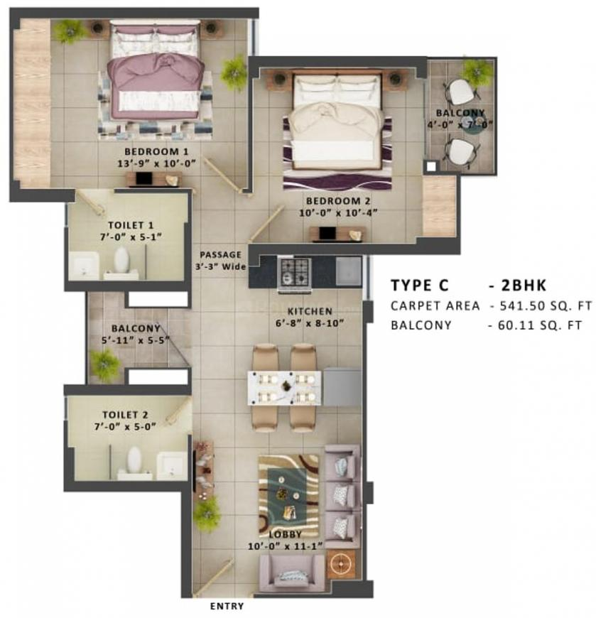 MRG The Meridian Floor Plan: 2 BHK Unit with Built up area of 542 sq.ft 1