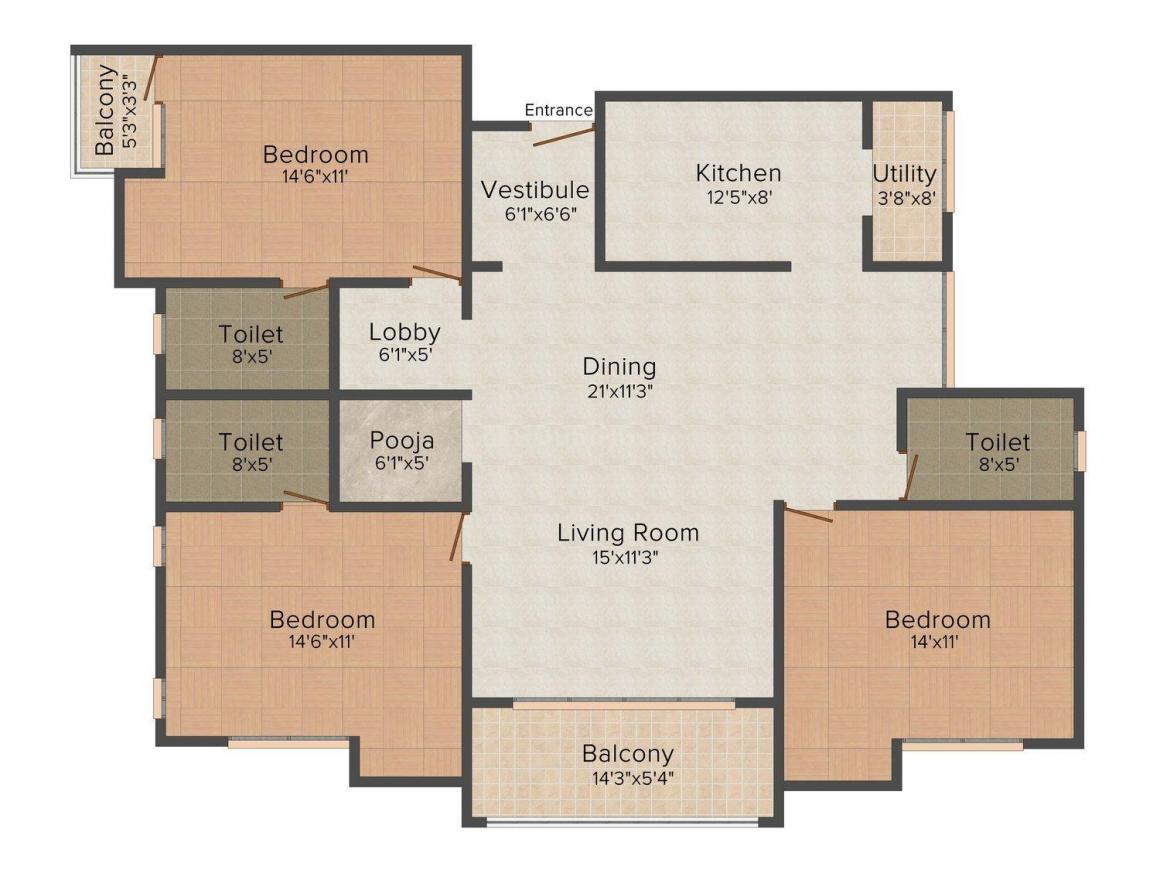 Floor Plan Image of 1602 - 1805 Sq.ft 3 BHK Apartment for buy in Landmark Orlando