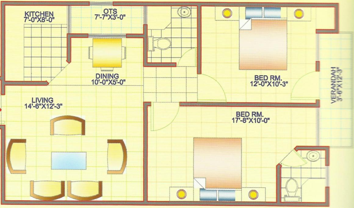 DS Residency Floor Plan: 2 BHK Unit with Built up area of 900 sq.ft 1