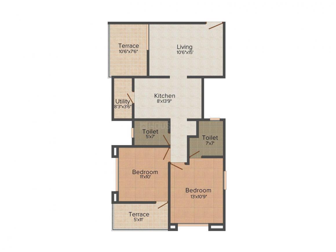 Venkatesh Swapna Sankul Floor Plan: 2 BHK Unit with Built up area of 1120 sq.ft 1
