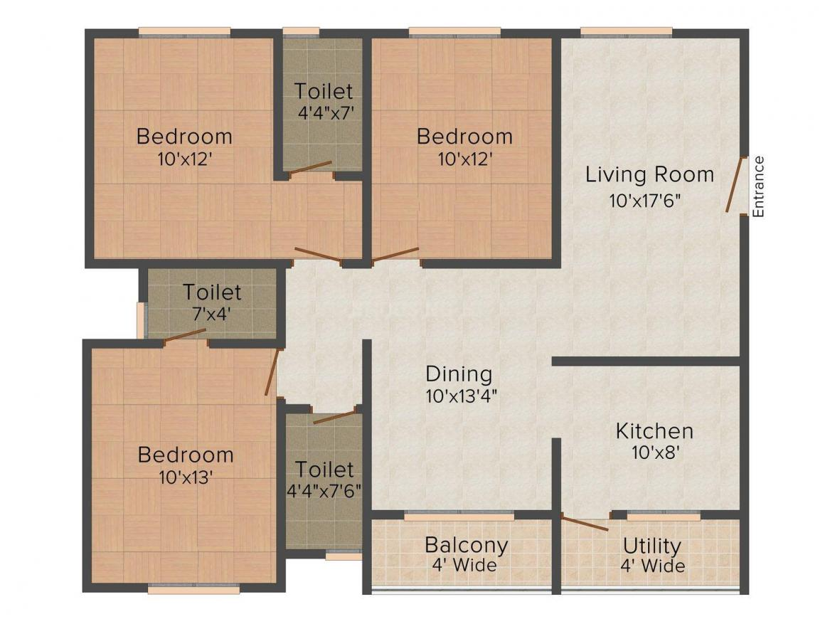 Floor Plan Image of 0 - 1458.0 Sq.ft 3 BHK Apartment for buy in Ritechoice Villa Grande