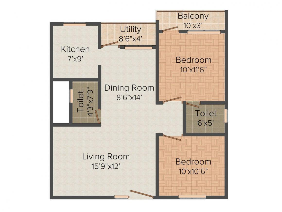 Floor Plan Image of 1030.0 - 1440.0 Sq.ft 2 BHK Apartment for buy in Balaji Meadows